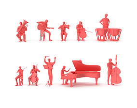 3D asset Low Poly Posed People Pack 20 - Music V2