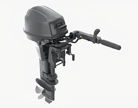 3D Outboard portable boat motor with tiller