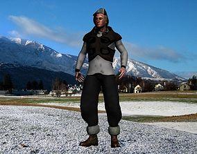 Fur vest tribal snow hunter 3D model