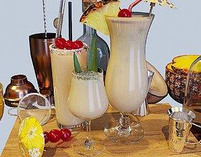 Cocktail Set Pina Colada 3D model
