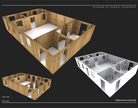 low poly construction site level with modular 3D model