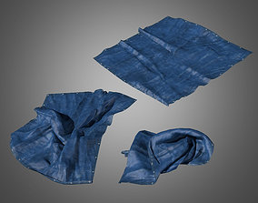 3D asset Dirty Plastic Tarp Set - PBR Game Ready