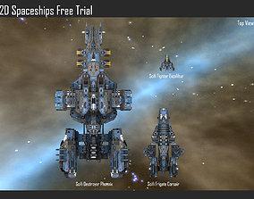 2D Spaceships Free Trial 3D model