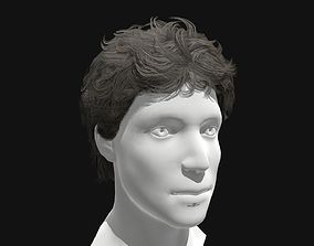 3D Hair Male Curly Long Hairstyle game-ready