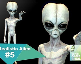 3D model animated Realistic Alien 5