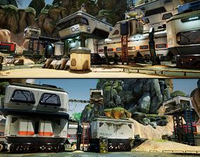 Modular Sci-Fi Military Camp 3D asset