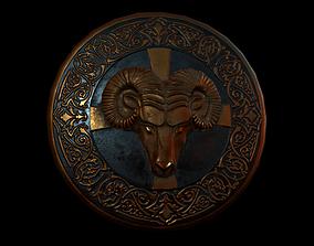 Shield with ram head 3D asset