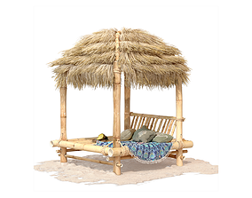 3D Bamboo Beach Bed Hut