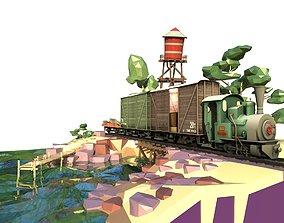 3D asset Locomotive cartoon