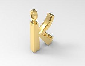 K Letter Pendant Gold 3D print model