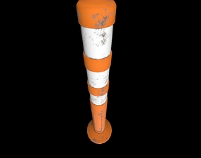 3D model low-poly PBR Traffic cone