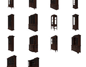 Collection of glass Cabinets 3D asset