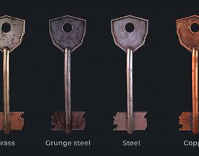 Metal key for the door lock 3D asset low-poly