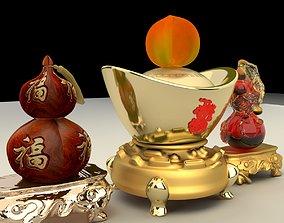ingots Chinese gold ingot 3D model