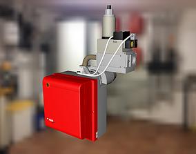 Riello burner with gas valve 3D model