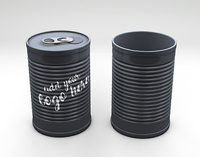 3D Product Tincan Ribbed Metal Tin Can