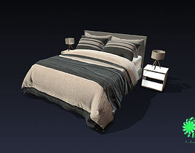 3D asset Bed Queen and Individual Size - Living Room Kit