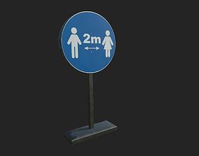 distance Social Distancing Signage 3D asset realtime PBR