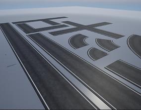 modular single lane PBR road 3D model