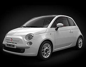 White Car Fiat 500 3D