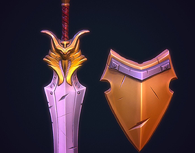 3D model VR / AR ready Stylized Sword and shield