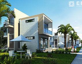 Modern House with garden 3D