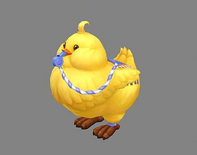 3D asset Cartoon fat chicken mount with whistle