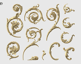 Acanthus Leaf Scroll Set 3D printable model