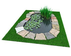 3D model Garden Pond With Foliage