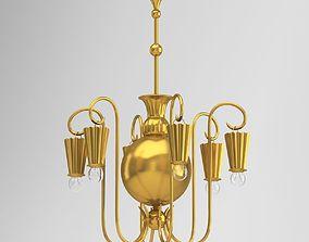 bulb Gold Chandelier Lamp 3D model