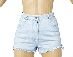 Shorts Jeans Light Blue Trims Clothing Fashion 3D model