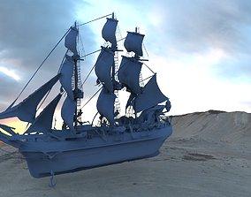 Frigate Ship 3D model vehicle