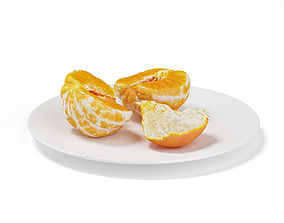 3D Halved Tangerine on White Plate