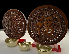 Chinese yuanbao with fu carving pattern 3D