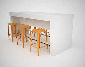 Counter with metal bar stools 3D model