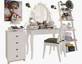 MakeUp Ikea Hemnes big set cream 3D model