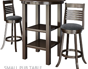 low-poly Small Pub Table And Chairs Tables 3d model