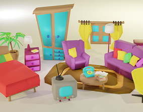 3D asset low-poly Cartoon Bedroom Funiture