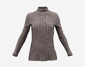 Brown Turtle Neck Pull Top 3D asset game-ready