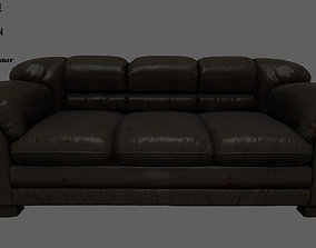 Armchair 3D model game-ready seat