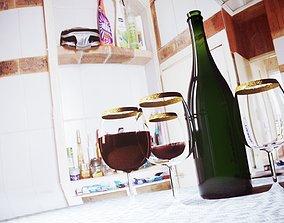 3D asset classic wine bottle