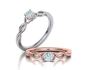 Heart Engagement ring with 4mm stone 3dmodel