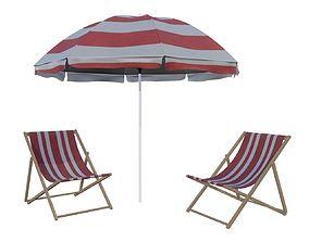 beach sun lounger and umbrella 3D model
