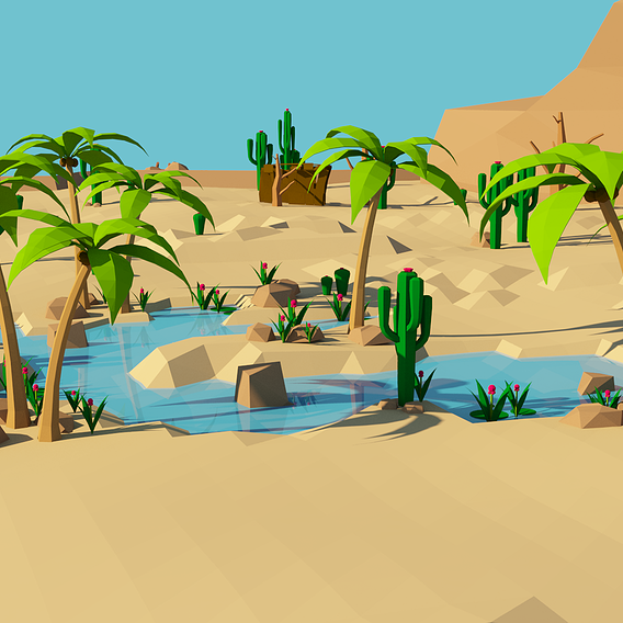 Low-poly Desert Game Environment Assets - Oasi 3d models