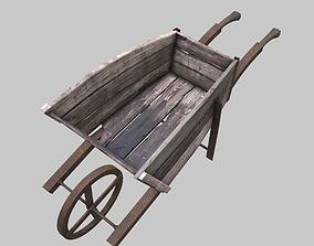 Wooden wheelbarrow 3D asset game-ready