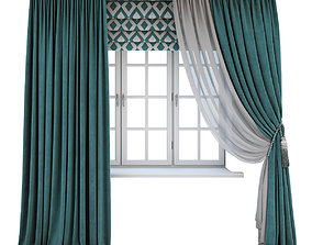 3D model Turquoise curtains and a Roman blind