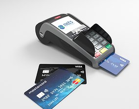 3D model Ingenico IWL250 payment terminal and credit cards