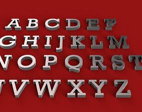 ROCKWELL font uppercase and lowercase 3D letters STL
