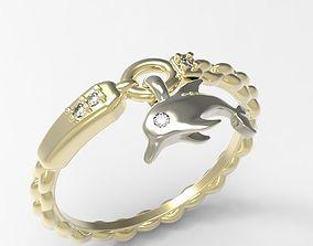 3D print model Ring Happy dolphin