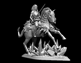 woman with horse 3D print model